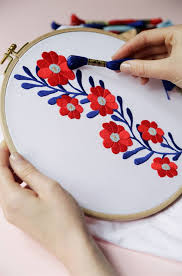 stitching flowers